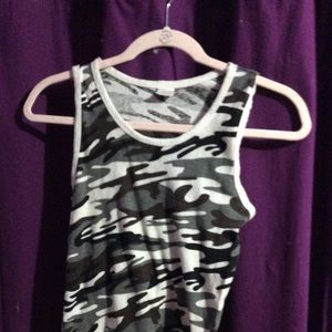 NWOT black and white camo tank top